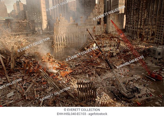 Wide view of recovery operations at the World Trade Center, New York City, Sept 17, 2001. In the center is the pile and remains of the WTC 2