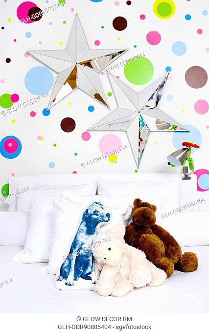 Toys in a bed