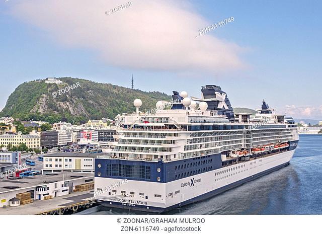 Cruise Ship Docked At Alesund Norway
