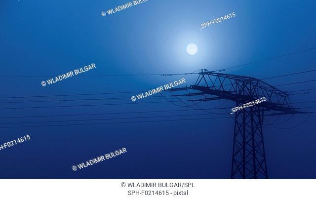 Pylon at night with moon