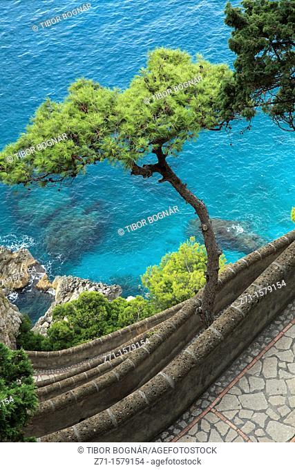Italy, Campania, Capri, Via Krupp, scenery