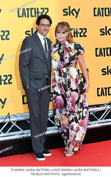 Grant Heslov, Lisa Heslov during the Red carpet for the Premiere of film tv Catch-22, Rome, ITALY-13-05-2019
