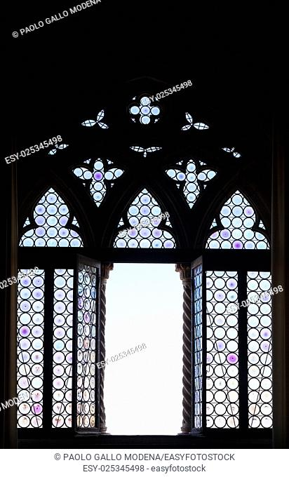Venice, Italy. Detail of a window silhouette
