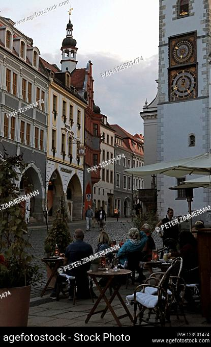 Refurbished historic facades at the Untermarkt at dusk in Gorlitz, the easternmost city in Germany, the district town of the Gorlitz district in the Free State...