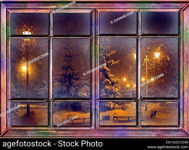 frozen window view frosty winter snowy magic night before christmas