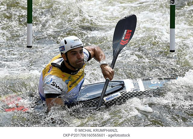 German canoeist HANNES AIGNER in action during the 2017 ICF Canoe Slalom World Cup in Prague, Czech Republic on June 16, 2017