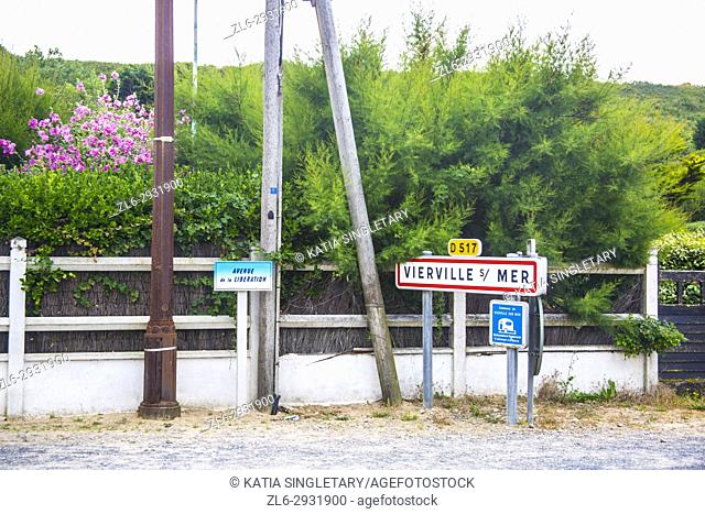 The very famous sign of Vierville sur mer, known in the world as Ohamha beach where D-Day June 1944 took place In Normandy France