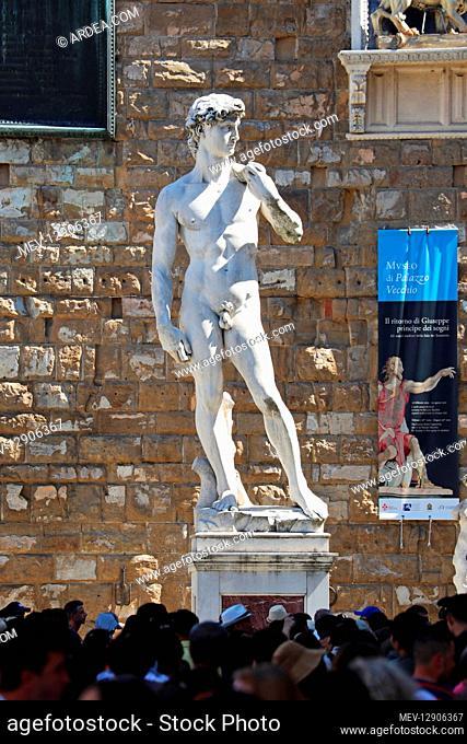 Copy of the Michelangelo's Statue of David in the Piazza della Signoria, Florence, Italy