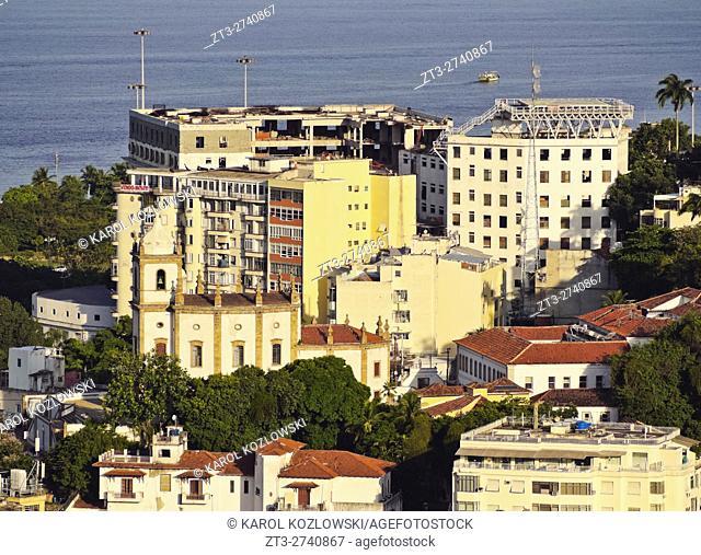 Brazil, City of Rio de Janeiro, Gloria Neighbourhood viewed from the Parque das Ruinas in Santa Teresa