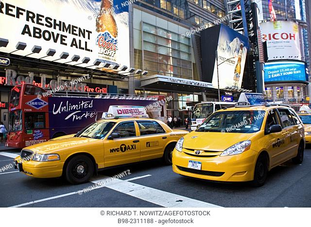 New York City, traffic in the street at Times Square