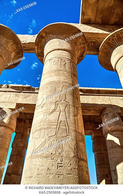 Column Reliefs, Hypostyle Hall, The Ramesseum (or Mortuary Temple of Ramese II), Luxor, West Bank, Nile Valley, Egypt