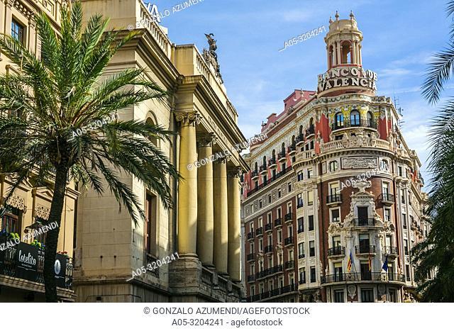 Teatro Principal Theatre and Bank of Valencia Building. Valencia. Comunidad Valenciana. Spain