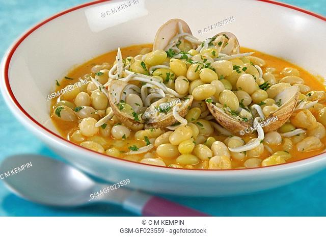 Beans with clams and baby eels
