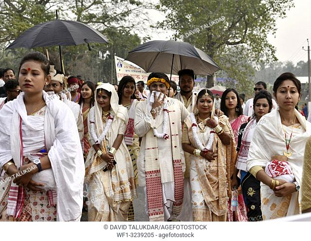 Marigaon, Assam, India. 8 Feb. 2019. Cultural procession with elephants during 88th session of Srimanta Sankardev Sangha Adhibeshan at Marigaon