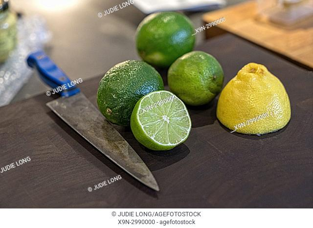 Lemons and Limes, Two Cut in Half, on a Cutting Board, Knife on the Side. NYC