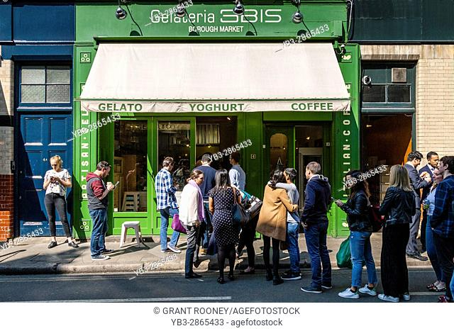 People Queueing At The 3BIS Gelateria Near Borough Market During Lunch Time, Southwark, London, England