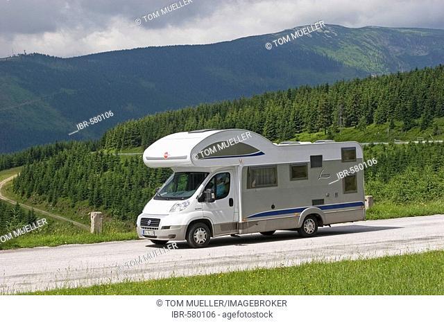 Motorhome on the road, Giant Mountains, Czechia