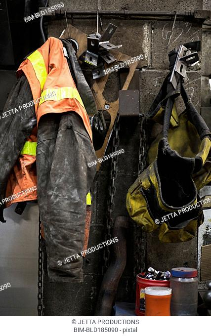 Safety gear hanging in factory