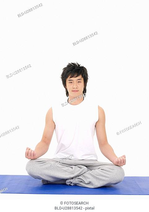 posing, asian, yoga mat, yoga pose, yoga position, full length portrait