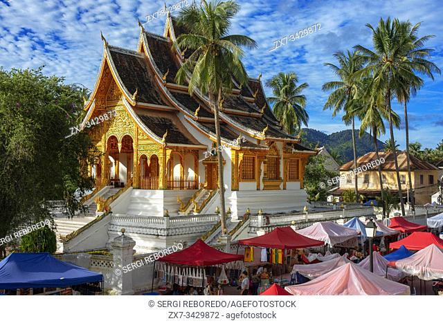 Royal Palace National Museum and souvenirs market, Wat Ho Pha Bang. Luang Prabang South-East Asia. Laos