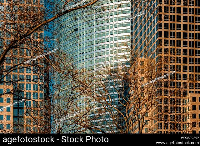 New York City - USA - Mar 11 2019: Close-up view of modern skyscrapers in Financial District Lower Manhattan New York City