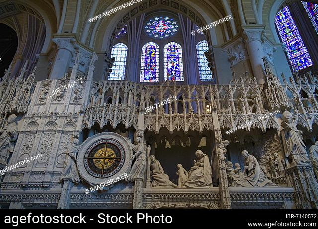 Astronomical clock in the choir, choir gallery of Notre-Dame Cathedral, Chartres, Eure-et-Loir, France, Europe