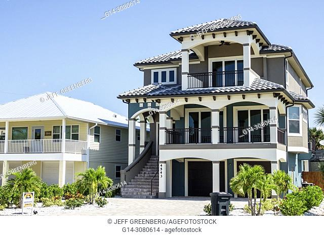 Florida, Fort Ft. Myers Beach, house home residence, beachfront real estate, balcony, three-story, rental
