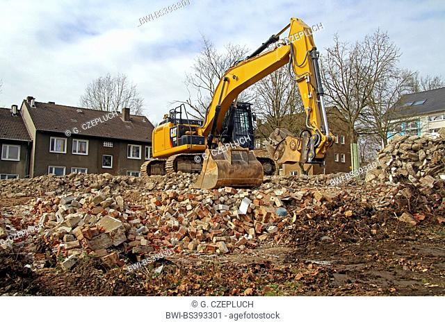 demolition works with heavy equipment, Germany