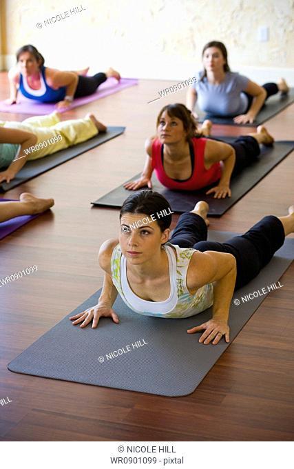 Women at yoga class