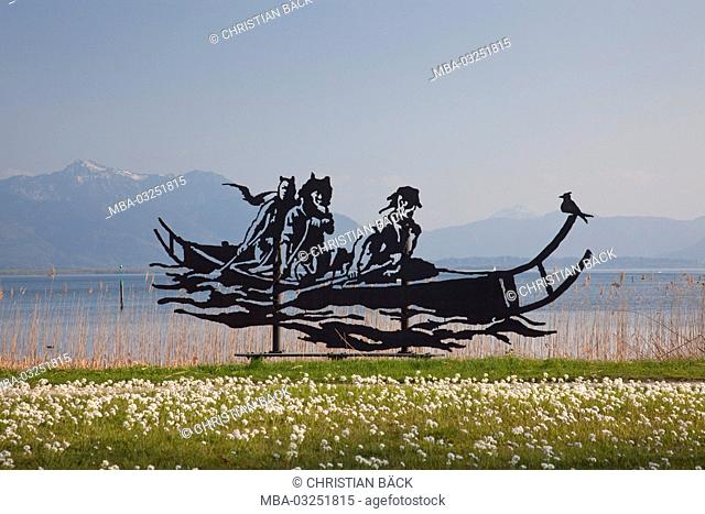 Sculpture 'Celt's ship' in Seebruck in Chiemsee, Seeon-Seebruck, Chiemgau, Upper Bavaria, Bavaria, South Germany, Germany