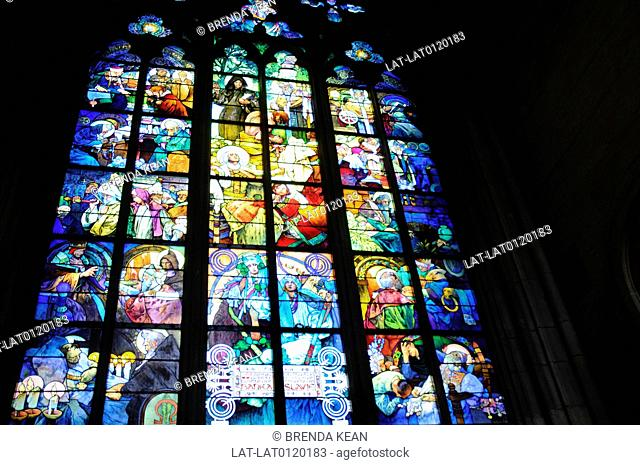 The Alfons Mucha Art Nouveau stained glass window in St Vitus cathedral in the Prague castle complex shows scenes from the lives of Saints Cyril and Methodius...