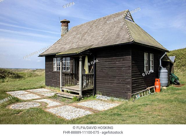 The Wardens cottage on Scolt Head Island Nature Reserve, the roof is made of cedar wood tiles. North Norfolk. The Warden's Cottage was first used by Emma Turner...