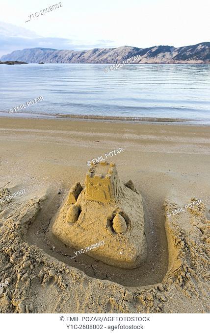 Lopar on island Rab in Croatia, sand fort with ditch on beach