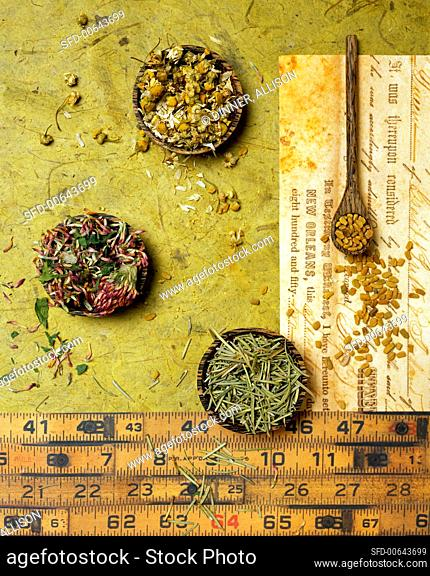 Assorted Dried Spices From Overhead