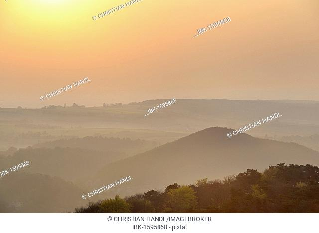 Sunrise seen from the Guglzipf lookout, Berndorf, Triestingtal valley, Lower Austria, Austria, Europe