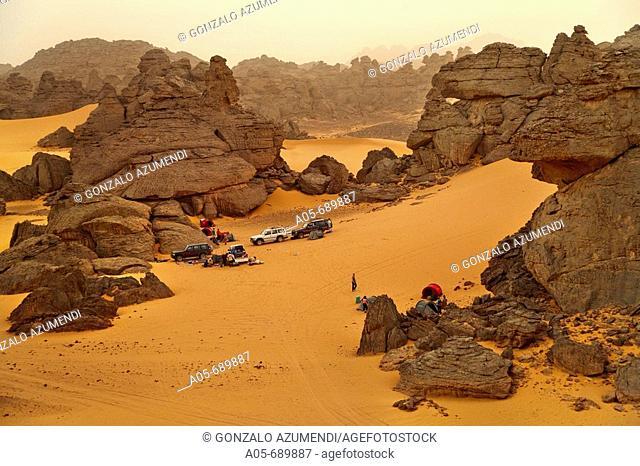 Akakus mountain. Travellers camping. Fezzan region. Sahara desert. Libia