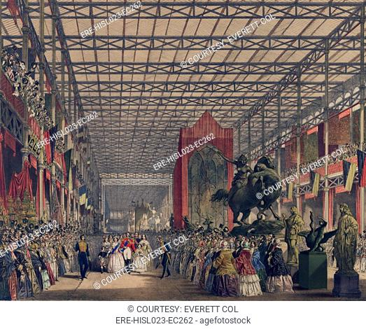 Queen Victoria with Prince Consort Albert and their two oldest children Albert Edward and Victoria lead a royal procession into the Great Industrial Exhibition...