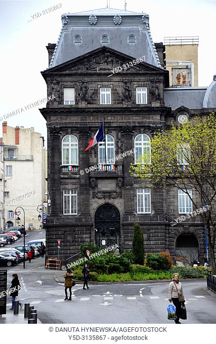 Former building of Prefecture near Place de Jaude, historic part of Clermont-Ferrand, Puy-de-Dôme, Auvergne, Auvergne-Rhône-Alpes, France, Europe