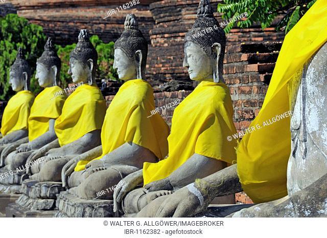 Buddha statues around the Great Chedi Chaya Mongkol, Wat Yai Chai Mongkon, Ayutthaya, Thailand, Asia