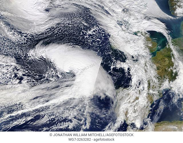 NORTH ATLANTIC OCEAN - 11 Oct 2018 - This image from the NASA MODIS Terra satellite data from 11 Oct 2018 (latest available) shows Storm Callum - which is...