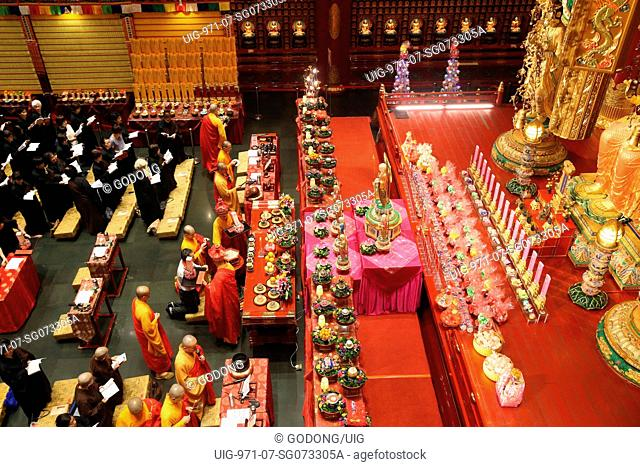 Buddha Tooth Relic Temple in Chinatown. Ullambana ceremony