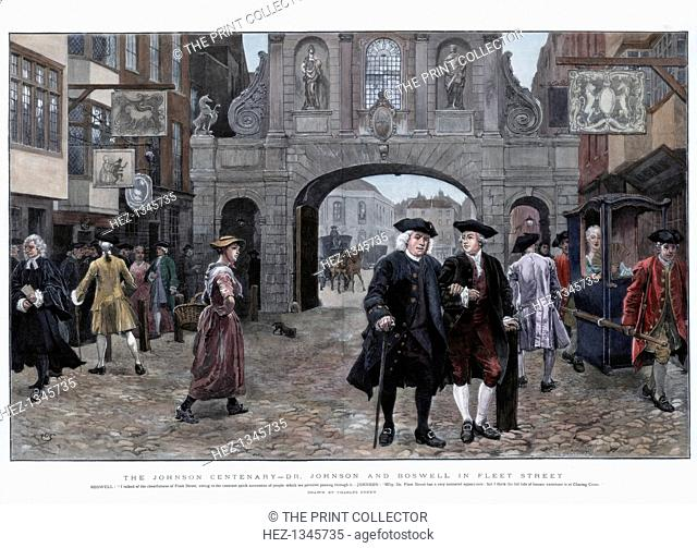 Dr Johnson and Boswell in Fleet Street, (1884). Boswell: I talked of the cheerfulness of Fleet Street, owing to the constant quick succession of people which we...