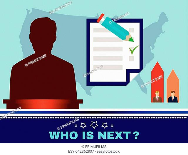 Digital vector usa election candidate tribune, who is next, flat style