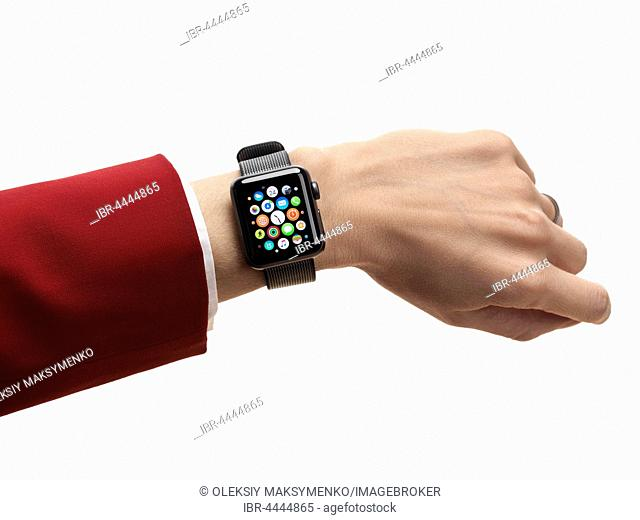 Woman hand with Apple Watch, series 2, smartwatch on her wrist