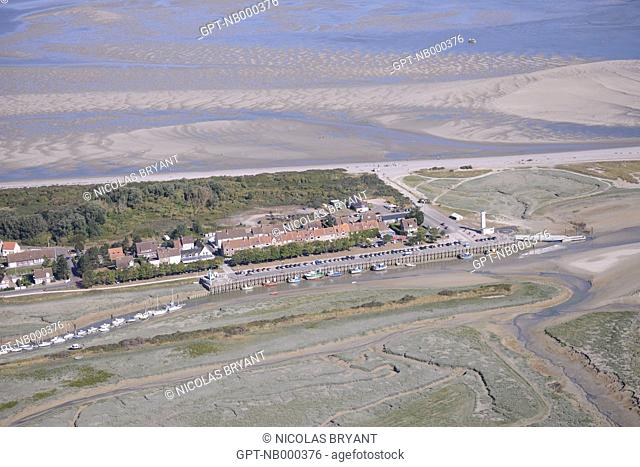 AERIAL VIEW, LE HOURDEL, CAYEUX-SUR-MER, BAY OF SOMME, SOMME, PICARDY, FRANCE
