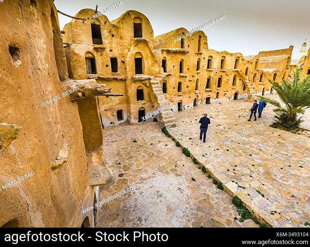 Fortified granaries (ksar) courtyard. Ksar Ouled Soltane village. Tataouine district, Tunisia, Africa