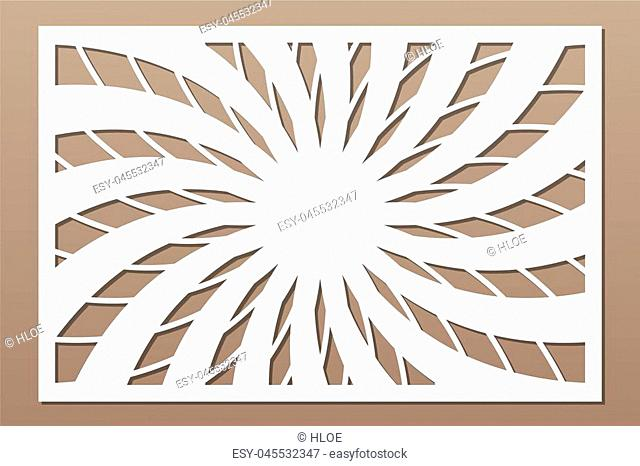 Template for cutting. Flower, geometric pattern. Laser cut. Set ratio 2:3. Vector illustration