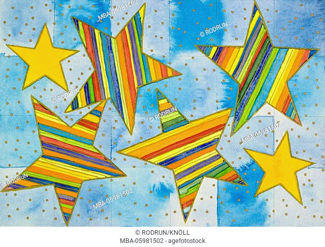 Watercolour of Heidrun Füssenhäuser, striped stars of Bethlehem