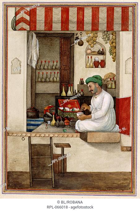 A druggist, Gandhi, a caste of perfumers or druggists represented by a druggist pouring liquid into a bowl. A painting from a manuscript of Tashrih al-aqvam