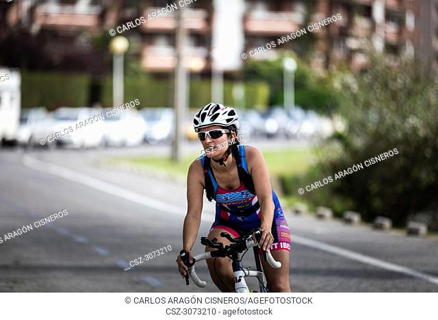 Unidentified athlete in the cycling competition during the III Duathlon Triflavi of Castro Urdiales